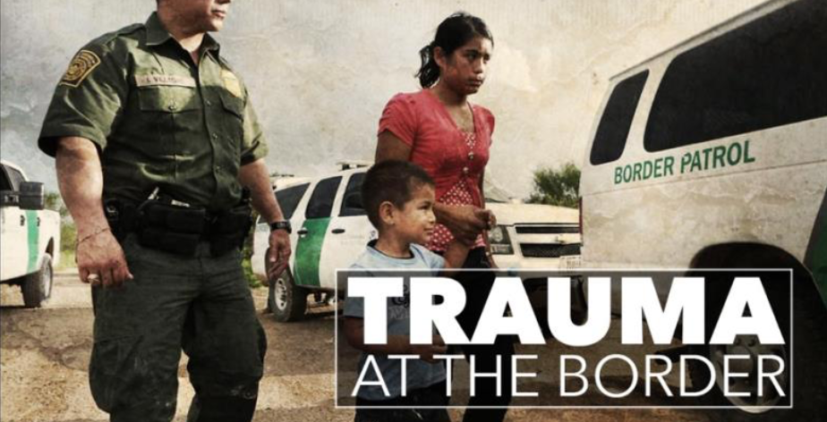 Image of Border patrol with child and mother