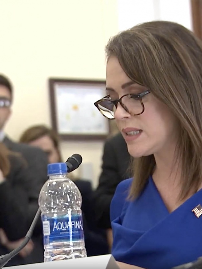 Alyssa Milano speaks at the ERA Congressional Meeting